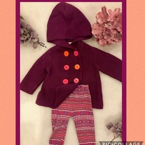 Baby girl leggings with button up sweater.